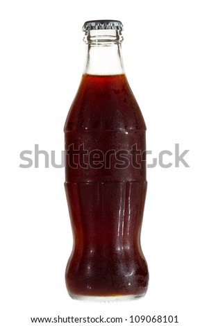 Bottle with cola on white background - stock photo