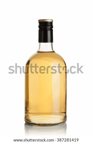 bottle with drink on white background - stock photo