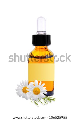 bottle with essence oil and chamomile flowers isolated on white background - stock photo