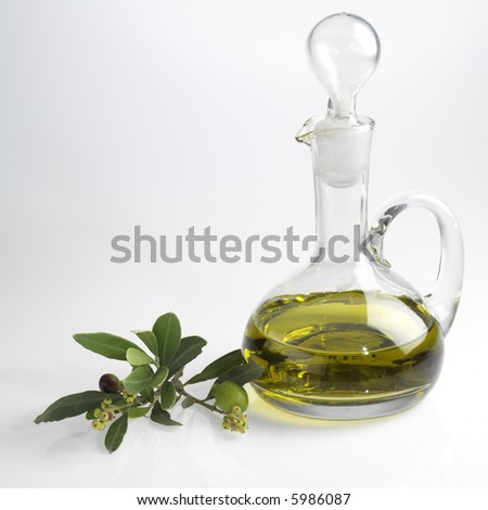 bottle with fine olive oil and a branch of an olive tree - stock photo