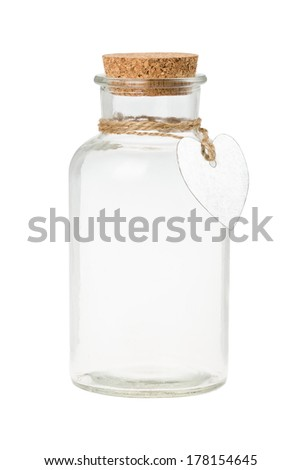 Bottle with label isolated on white