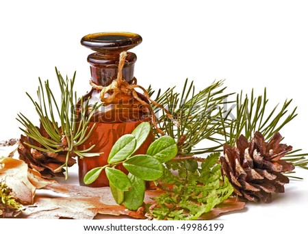 bottle with massage oil - stock photo