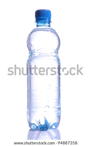 Bottle with mineral water over white