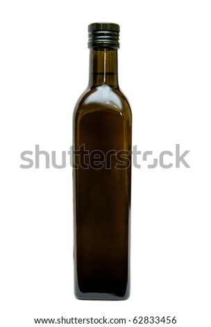 bottle with oil on white background - stock photo