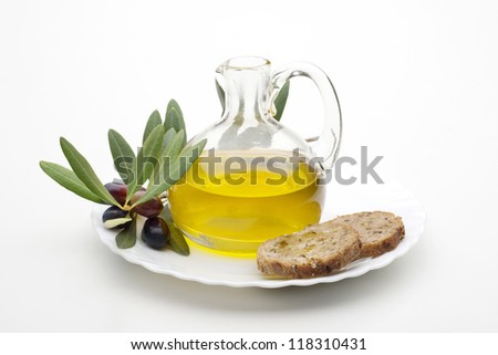 bottle with olive oil isolated on white background - stock photo