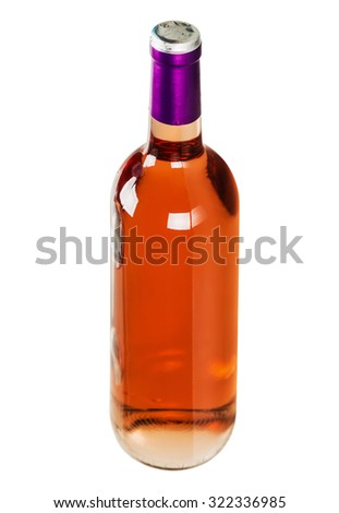 bottle with pink wine isolated on white background. Focus on the neck of the bottle
