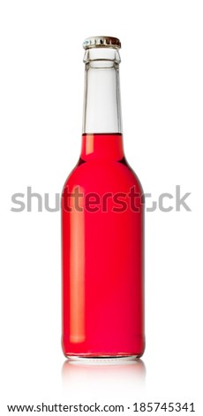 Bottle with red drink isolated on white background
