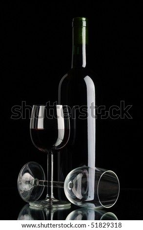 bottle with red wine