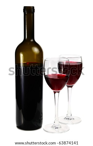 bottle with red wine and glass isolated on white background - stock photo