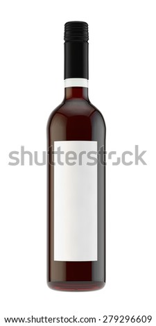 bottle with red wine from light glass with a screw stopper - stock photo
