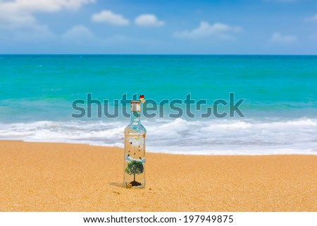 Bottle with tree  and butterfly inside on a beach - stock photo