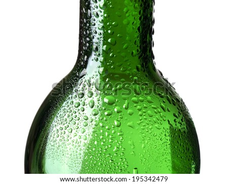 bottle with water drops close-up - stock photo