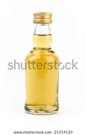 Bottle with whiskey isolated on white - stock photo