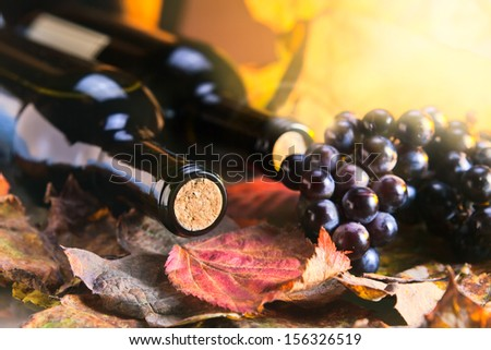 bottle with wine , focus on a cork - stock photo