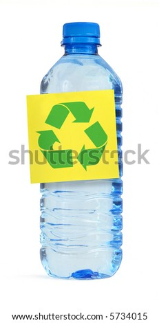bottle with yellow note and recyle symbol against white background - stock photo