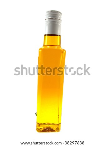 Bottle with yellow oil isolated on a white background - stock photo