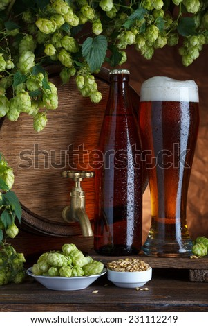 Bottled and unbottled beer with barrel, barley and fresh hops for brewing still-life - stock photo