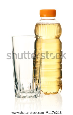 Bottled green tea and glass over a white background