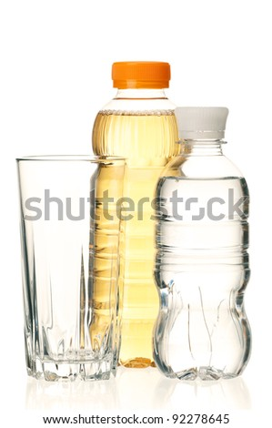 Bottled green tea and water for healthy life over a white background