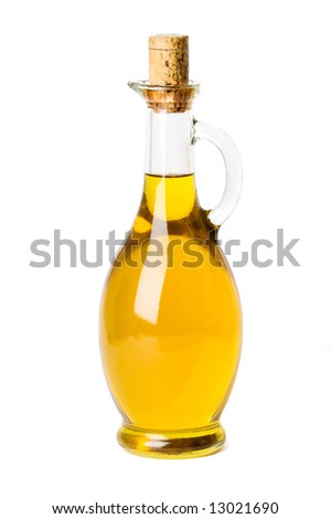 bottled olive oil isolated on white - stock photo