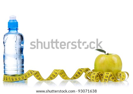 Bottled water for healthy life over a white background - stock photo