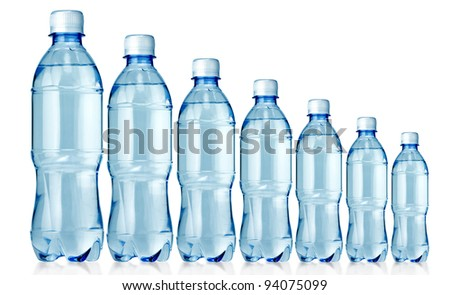 Bottled water in 7 sizes isolated over a white background