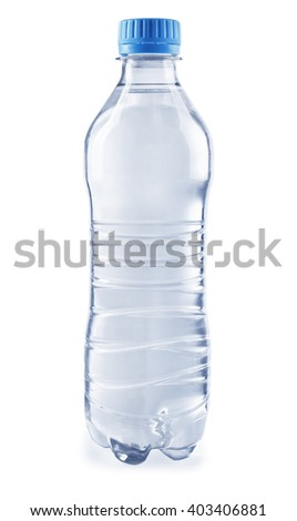 Bottled water on the grey background, close up - stock photo