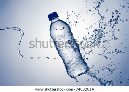 Bottled Water With A Splash - stock photo