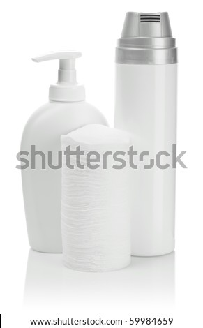 bottles and cotton pads - stock photo