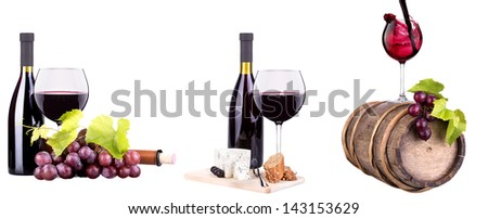 bottles and glass of wine, assortment of grapes and cheese cork isolated on white - stock photo
