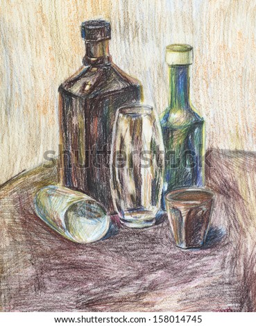 bottles and glasses drawn with colored pencils