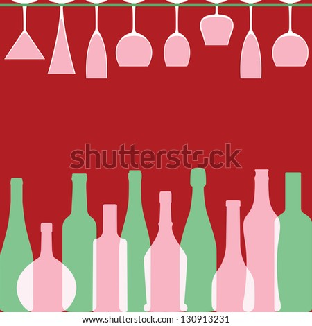 Bottles and wineglasses in bar - stock photo