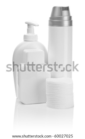 bottles for care isolated - stock photo