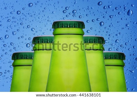 Bottles glass of beer on water bubbles background.Elegant Design with copy space for placement your text, mock up for beverage concept - stock photo