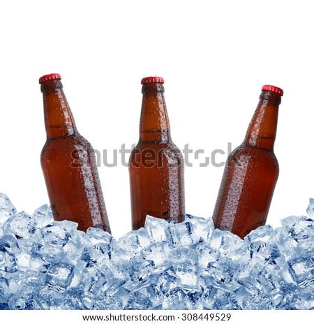 Bottles in ice isolated on white background - stock photo