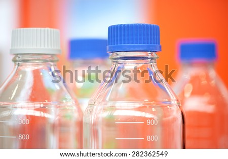 bottles in the chemical laboratory - stock photo