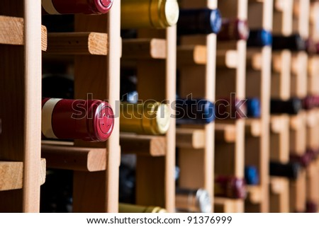 Bottles In Wine Cellar - stock photo