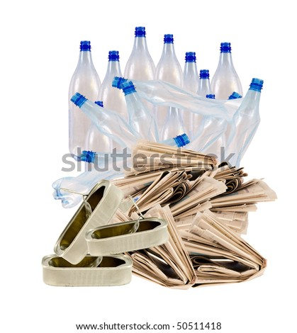 bottles,newspaper,cans for recycling - stock photo