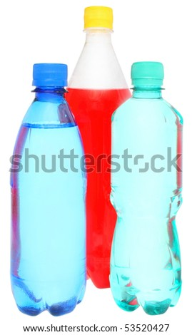 Bottles of a drink on a white background.