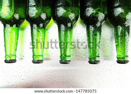 Bottles of beer,  close up - stock photo
