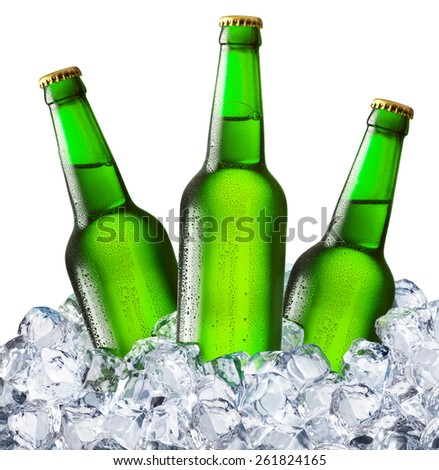 Bottles of beer in the ice cubes. File contains clipping paths.