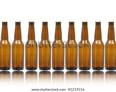 Bottles of beer isolated against a white background