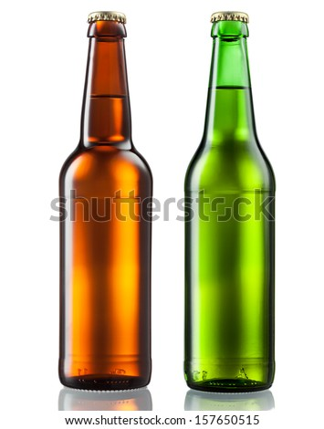 Bottles of beer isolated on white background - stock photo