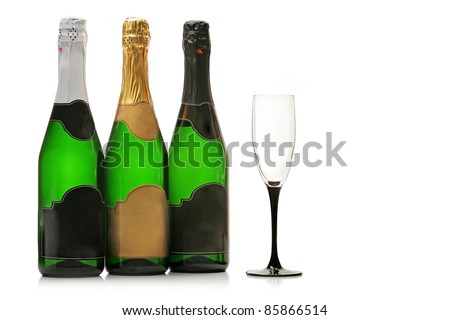 Bottles of champagne and wineglass isolated on white background - stock photo