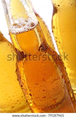 Bottles of cold and fresh beer. Close up view. - stock photo
