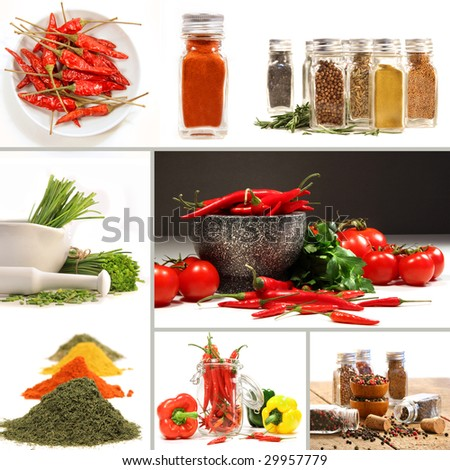 Bottles of colorful spices with grey background