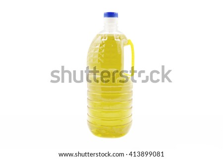 Bottles of cooking oil on a white background - stock photo