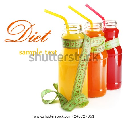 Bottles of diet drinks with measuring tape isolated on white, Diet concept - stock photo