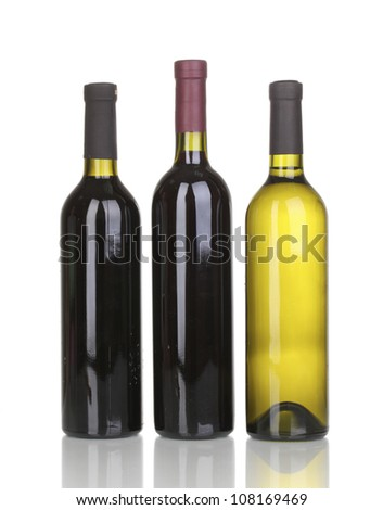 Bottles of great wine isolated on white - stock photo