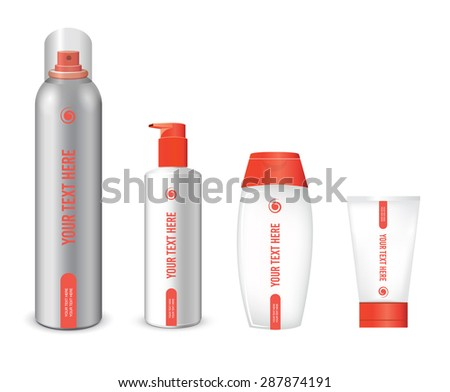Bottles of hair care products - stock photo